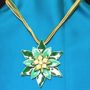 Green Flower Necklace with Green Crystal Center